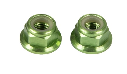 M5 Aluminum Nylon Insert Self-Lock Nuts - <b>Green CW</b> 2pcs - SNHE