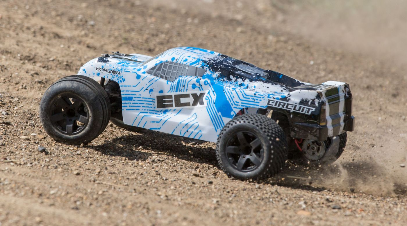 ECX 1/10 Circuit 2WD Stadium Truck, Brushed, LiPo, RTR: White/Blue - SNHE