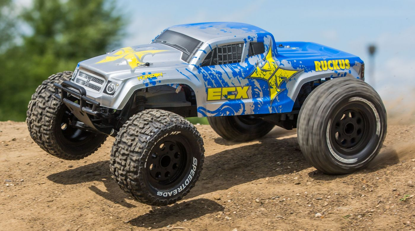 ECX 1/10 Ruckus 2WD Monster Truck, Brushed, LiPo, RTR, Silver/Blue - SNHE