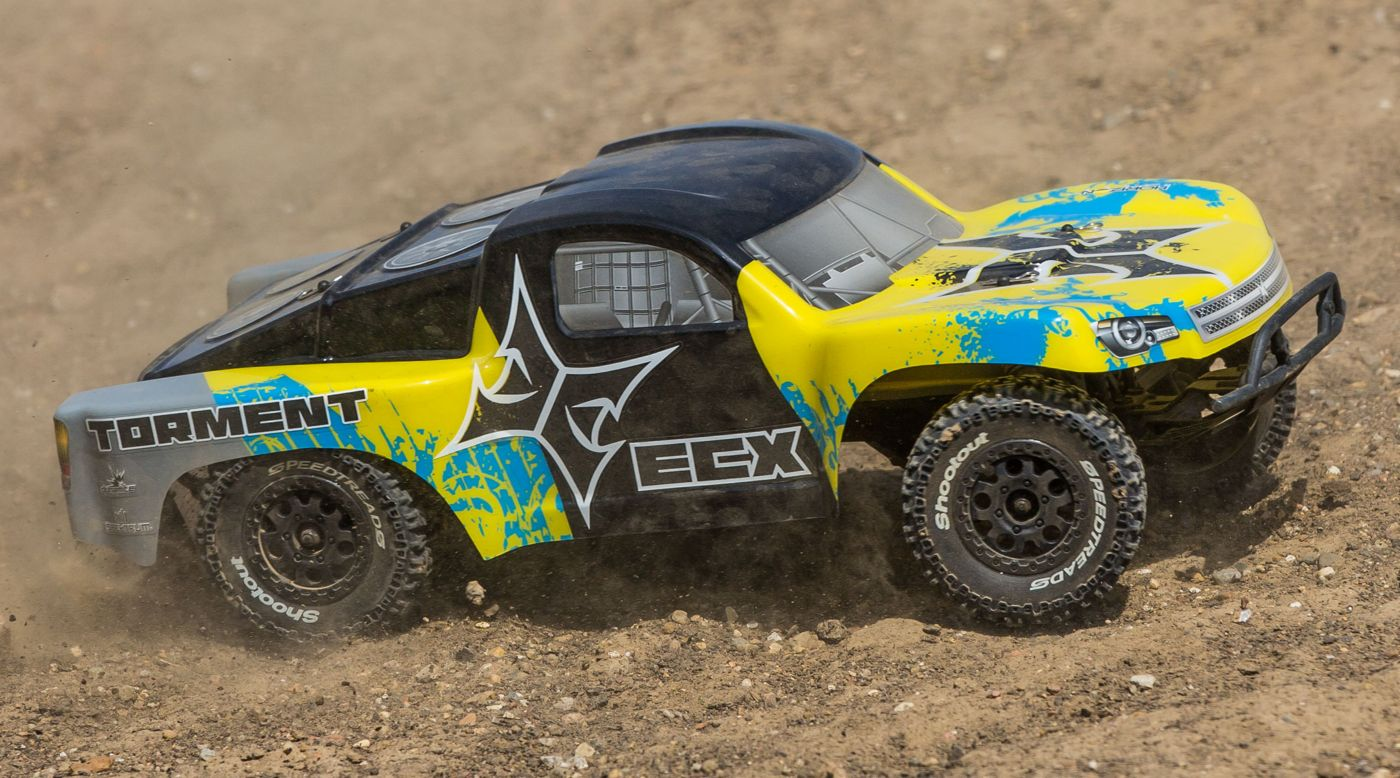 ECX 1/10 Torment 2WD SCT, Brushed, LiPo, RTR, Yellow/Blue - SNHE