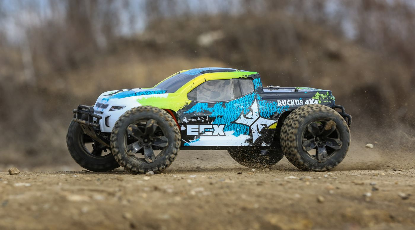 ECX 1/10 Ruckus 4WD Monster Truck Brushed RTR, Green/Blue - SNHE