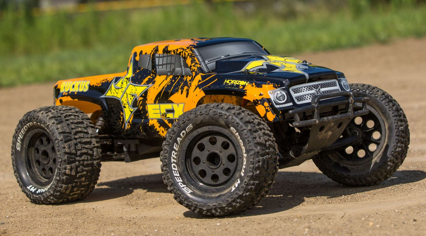 ECX 1/10 Ruckus 2WD Monster Truck Brushed with LiPo RTR, Black/Orange - SNHE