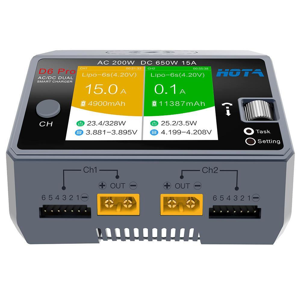 HOTA D6 Pro Dual Channel 650W 15A AC/DC Battery Charger w/ Wireless Cellphone Charging
