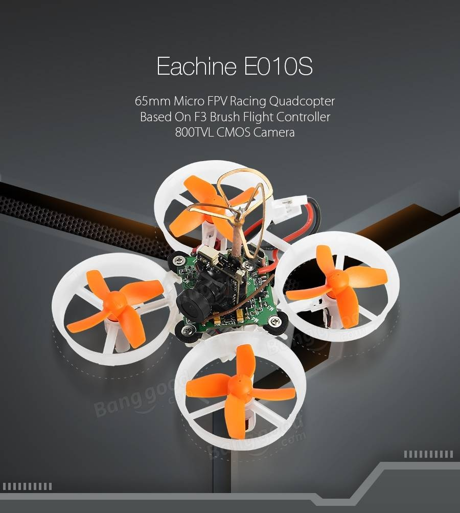 Eachine E010S 65mm Micro FPV Racing Quadcopter with 800TVL CMOS Based On F3 Brush Flight Controller - <b>FRSKY</b> - SNHE