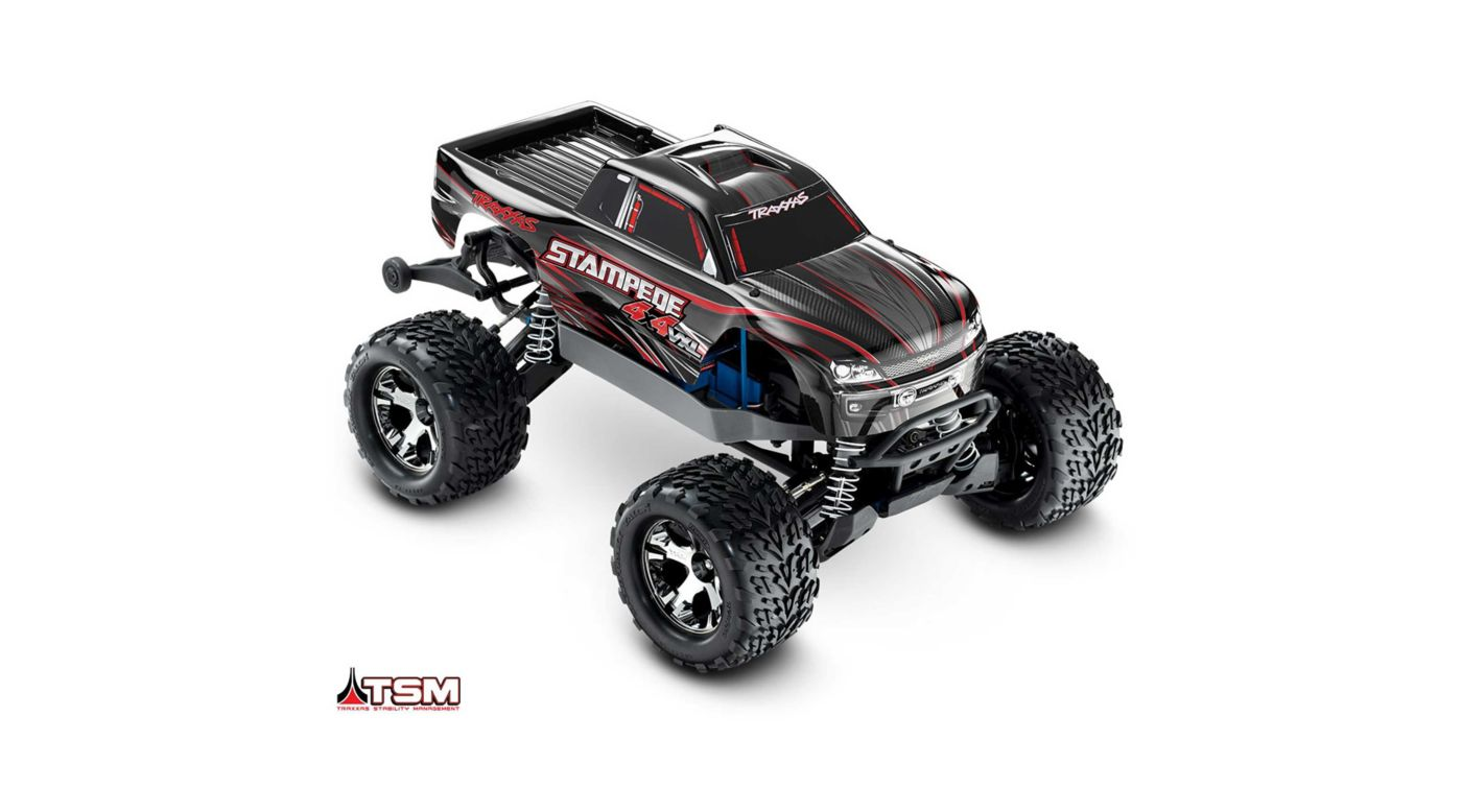 Traxxas 1/10 Stampede VXL 4WD Monster Truck Brushless RTR with TSM, Black - SNHE