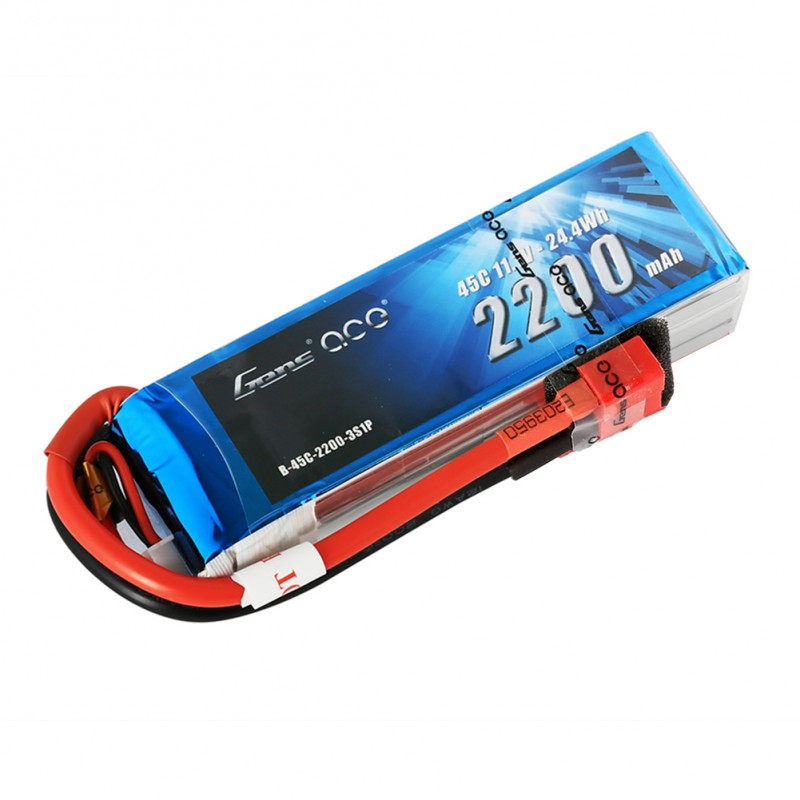 Gens ace 2200mAh 11.1V 45C 3S1P Lipo Battery Pack with Deans plug - SNHE